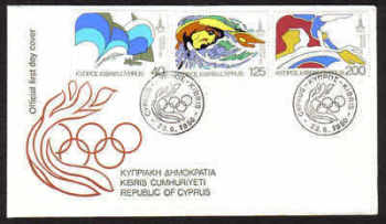 Cyprus Stamps SG 542-44 1980 Moscow Olympic games - Official FDC