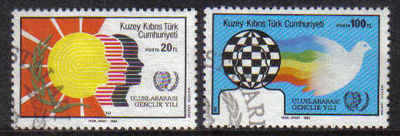 North Cyprus Stamps SG 178-79 1985 International youth year - USED (b601)