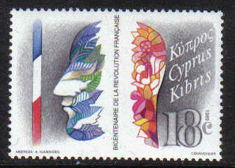 CYPRUS STAMPS SG 744 1989 BICENTENARY OF FRENCH REVOLUTION - MINT