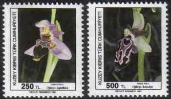 North Cyprus Stamps SG 304-05 1991 Orchids 1st Series - MINT