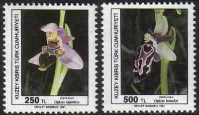 NORTH CYPRUS STAMPS SG 304-05 1991 ORCHIDS (1st Series) - MINT