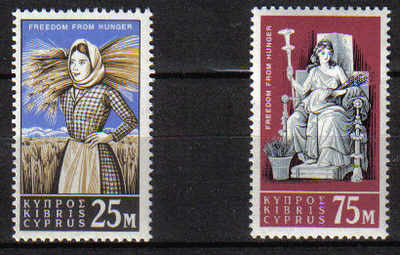 Cyprus Stamps SG 227-28 1963 Freedom from Hunger - MLH