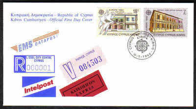 CYPRUS STAMPS SG 774-75 1990 FDC EUROPA POST OFFICE BUILDINGS (a211)