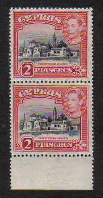 Cyprus Stamps SG 155c 1944 2 Piastres King George VI - Pair MINT (a196)
