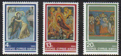 Cyprus Stamps SG 670-72 1985 Christmas Church Frescoes - MINT