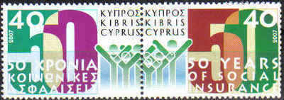 Cyprus Stamps SG 1135-36 2007 50 Years of Social Insurance - MINT