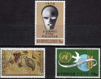Cyprus Stamps SG 351-53 1970 Anniversaries & Events - MLH