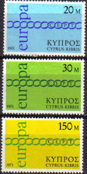 Cyprus stamps SG 372-74 1971 Europa Chain - MINT