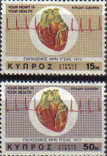 Cyprus Stamps SG 385-86 1972 Heart Health - MINT