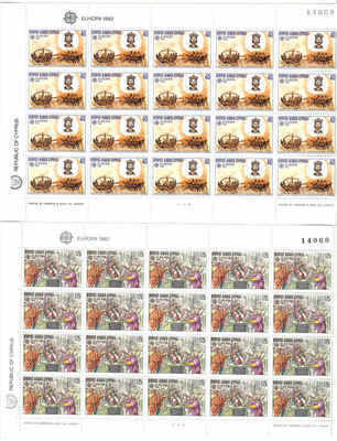 CYPRUS STAMPS SG 586-87 1982 EUROPA HISTORICAL EVENTS FULL SHEETS - MINT (p