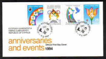 Cyprus Stamps SG 849-52 1994 Anniversaries and Events - Official FDC