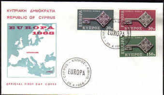 Cyprus Stamps SG 319-21 1968 Europa Key - Official First Day Cover