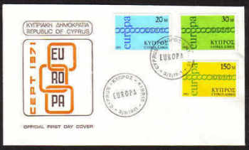 Cyprus Stamps SG 372-74 1971 Europa Chain - Official First day cover (a670)