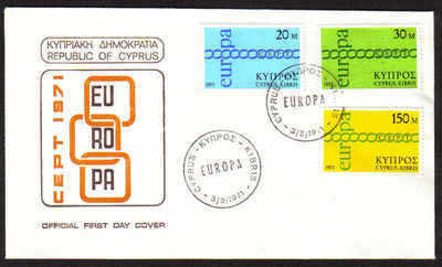 CYPRUS STAMPS SG 372-74 1971 EUROPA CHAIN - FDC (a670)