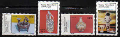 North Cyprus Stamps SG 189-92 1986 Archeological Artifacts - MINT