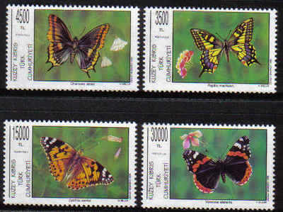 NORTH CYPRUS STAMPS SG 399-402 1995 BUTTERFLIES - MINT