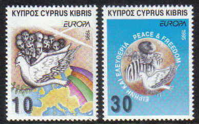 Cyprus Stamps SG 883-84 1995 Europa Peace and freedom - MINT