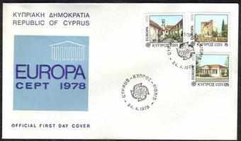 Cyprus Stamps SG 502-04 1978 Europa Architecture - Official FDC (a88)