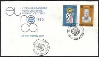 Cyprus Stamps SG 540-41 1980 Europa Personalities - Official FDC  (a95)