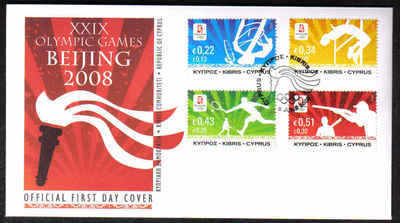 Cyprus Stamps SG 1165-68 2008 Bejing Olmpic games - Official FDC (F175)