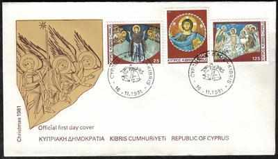 CYPRUS STAMPS SG 581-83 1981 CHRISTMAS ISSUE - OFFICIAL FDC (a102)