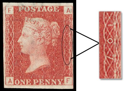 Plate numbers on Penny Red stamps