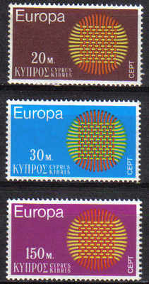 Cyprus Stamps SG 345-47 1970 Europa Sun - MINT
