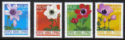 Cyprus Stamps SG 1158-61 2008 Anemone - MINT
