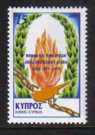 Cyprus Stamps SG 0998 2000 Independence Struggle 45th Anniversary - MINT