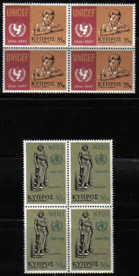 Cyprus Stamps SG 322-23 1968 UNICEF WHO - Block of 4 MINT (a118)