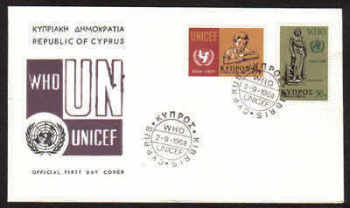 Cyprus Stamps SG 322-23 1968 World Health Organisation UNICEF - Official FDC