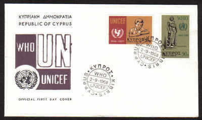 Cyprus Stamps SG 322-23 1968 World Heath Organisation UNICEF - Official FDC