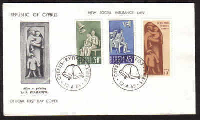 Cyprus Stamps SG 259-61 1965 Social insurance law - Official FDC (a674)