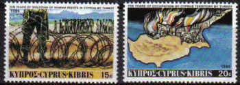 Cyprus Stamps SG 639-40 1984 10th Anniversary of the Turkish Landings - MINT