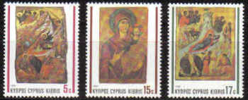 Cyprus Stamps SG 791-93 1990 Christmas Religious Icons - MINT