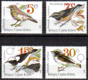 Cyprus Stamps SG 800-03 1991 Pied Wheatear Birds - MINT