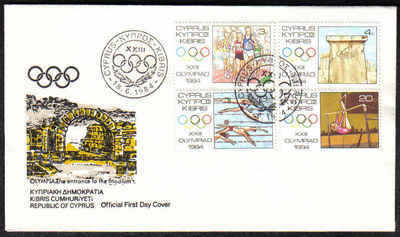 Cyprus Stamps SG 635-38 1984 Los Angeles Olympic Games - Official FDC (a165