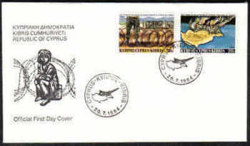 Cyprus Stamps SG 639-40 1984 Turkish Landings - Official FDC (a166)