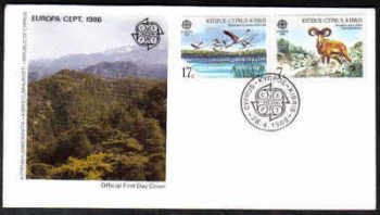 Cyprus Stamps SG 678-79 1986 Europa Environmental Protection - Official FDC (a174)