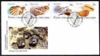 Cyprus Stamps SG 680-83 1986 Shells - Official FDC (a175)