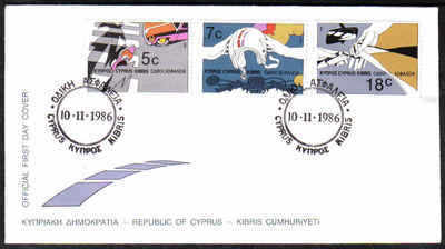 Cyprus Stamps SG 689-91 1986 Road safety - Official FDC (a177)