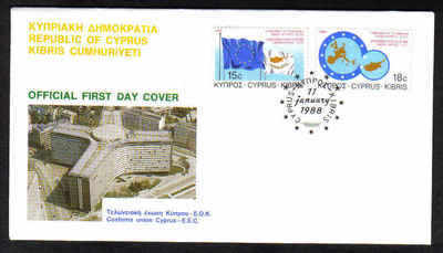 CYPRUS STAMPS SG 716-17 1988 CUSTOMS UNION FDC (a364)