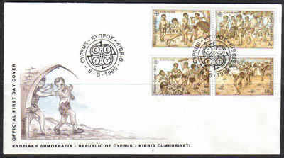 Cyprus Stamps SG 740-43 1989 Europa Childrens games - Official FDC (a181)