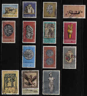 Cyprus Stamps SG 283-96 1966 2nd Definitives Antiquities - USED (b354)