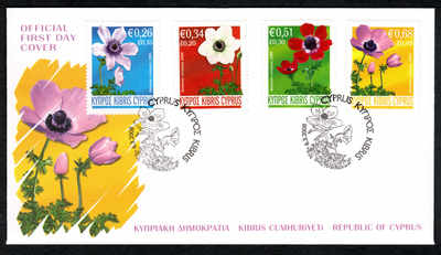 Cyprus Stamps SG 1158-61 2008 Anemone flowers - Official FDC (a152)
