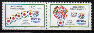 North Cyprus Stamps SG 430-31 1996 Euro 96 Football England Horizontal pair