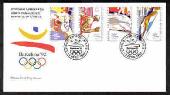 Cyprus Stamps SG 811-14 1992 Barcelona Olympic Games - Official FDC