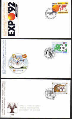 Cyprus Stamps SG 815-17 1992 FDC x 3 Anniversaries & Events (a222)