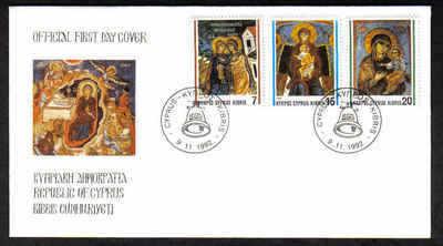 CYPRUS STAMPS SG 827-29 1992 FDC CHRISTMAS (a226)
