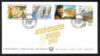 "Cyprus Stamps SG 833-36 1993 Anniversaries and Events ""Mufflon Error"" - Official FDC"